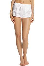 Dolce & Gabbana Lace-trimmed stretch-silk satin shorts