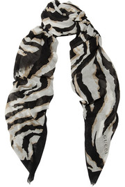 Printed cashmere, wool and silk-blend scarf