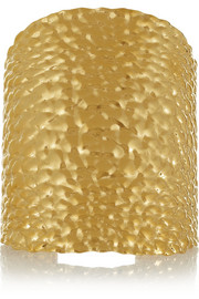 Fendi Textured gold-plated cuff