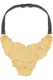 Fendi Hammered gold-plated and leather necklace