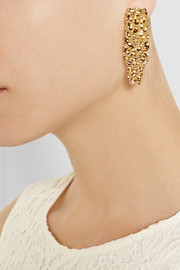 Fendi Textured gold-plated earrings