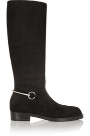 Gucci Horsebit-detailed nubuck knee boots
