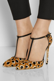 Gucci Leopard-print calf hair T-bar pumps