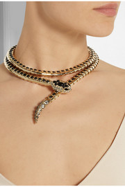 Roberto Cavalli Gold-tone Swarovski crystal wrap necklace