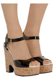 Fendi Patent-leather and glossed-cork platform sandals