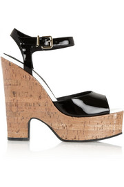 Patent-leather and glossed-cork platform sandals