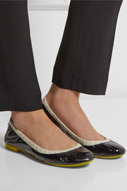 Fendi Color-block patent-leather ballet flats
