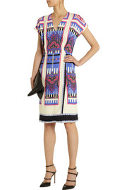 Etro Printed wrap-effect crepe dress