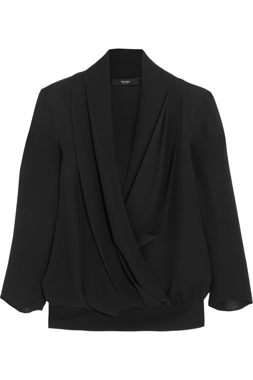 Etro Wrap-effect silk-crepe top