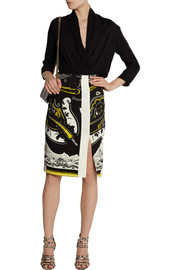 Etro Printed stretch-crepe pencil skirt