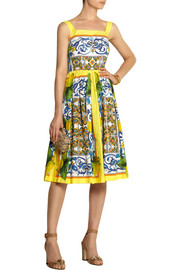 Dolce & Gabbana Printed cotton-poplin dress