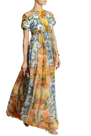 Dolce & Gabbana Embellished printed brocade and silk-chiffon gown