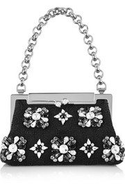 Dolce & Gabbana Crystal-embellished cotton-canvas and lace shoulder bag