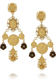 Madonne gold-plated faux pearl clip earrings