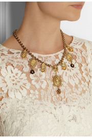 Dolce & Gabbana Madonne gold-plated faux pearl charm necklace