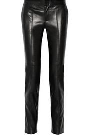 Tailored mid-rise leather skinny pants