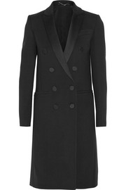 Double-breasted satin-trimmed stretch-wool coat