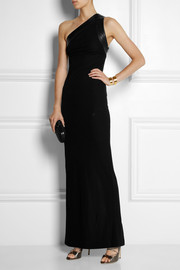 Gucci One-shoulder leather-trimmed crepe gown
