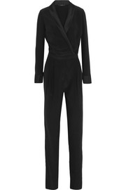 Gucci Satin-trimmed silk-crepe jumpsuit