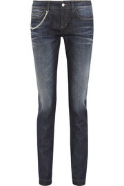 Faded mid-rise skinny jeans