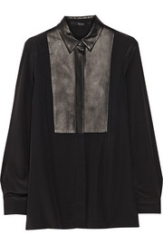 Gucci Leather-trimmed silk crepe de chine shirt