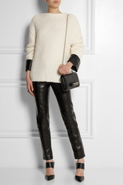 Gucci Leather-trimmed wool and alpaca-blend bouclé-knit sweater
