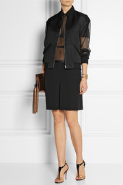 Gucci Leather-trimmed stretch wool and silk-blend culottes