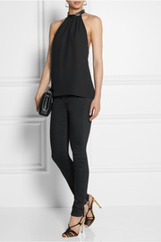 Gucci Leather-trimmed silk top