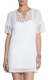 Miguelina Kristen crocheted cotton-lace coverup