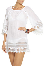 Miguelina Lillian crochet-trimmed cotton-gauze dress