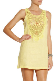 Miguelina Etta crochet-paneled linen mini dress