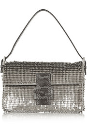 Fendi Baguette watersnake-trimmed embellished silk shoulder bag