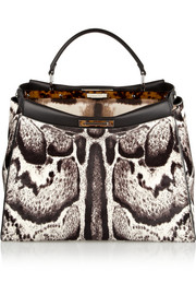 Fendi Peekaboo medium printed calf hair tote