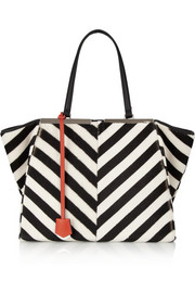 Fendi Striped shearling and calf hair tote