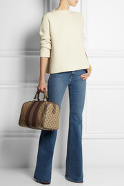 Gucci Vintage Web leather-trimmed canvas tote