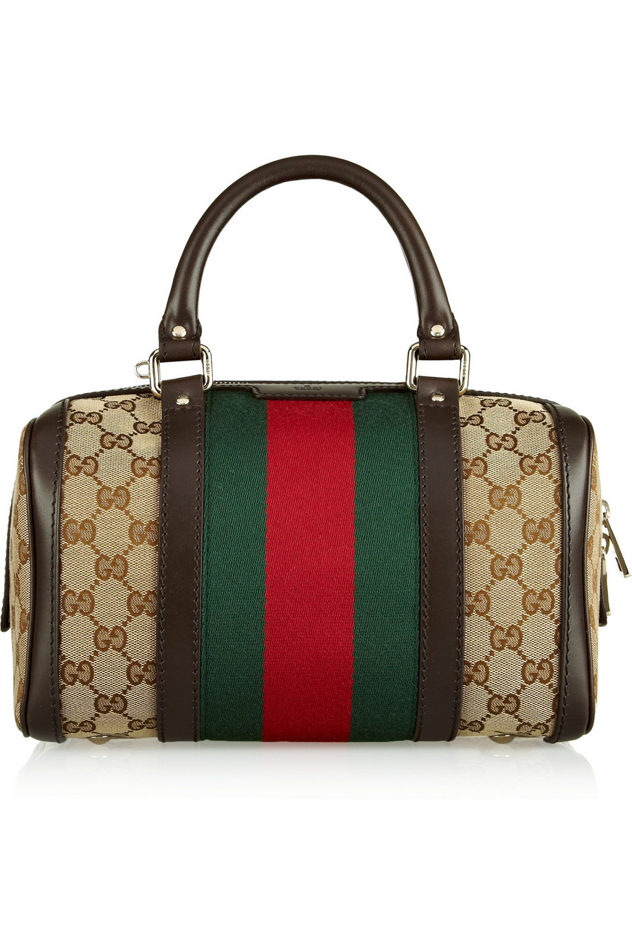 Gucci Vintage Web Small Monogrammed Canvas Tote, Brown, Women's
