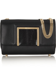 Jimmy Choo Alba elaphe-trimmed leather shoulder bag
