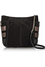 Jimmy Choo Anabel suede and elaphe shoulder bag