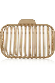 Jimmy Choo Gold-tone cage clutch