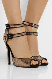 Gucci Suede-trimmed glitter-finished sandals