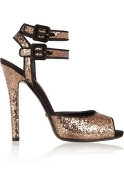 Suede-trimmed glitter-finished sandals