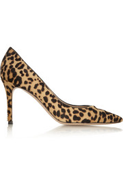 Gianvito Rossi Leopard-print calf hair pumps
