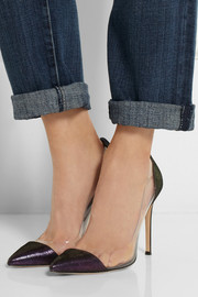 Gianvito Rossi Metallic suede and PVC pumps