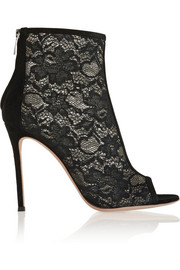Gianvito Rossi Suede-trimmed lace ankle boots