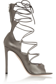 Gianvito Rossi Metallic leather lace-up sandals