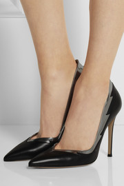 Metallic-trimmed leather pumps