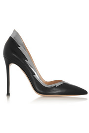 Gianvito Rossi Metallic-trimmed leather pumps