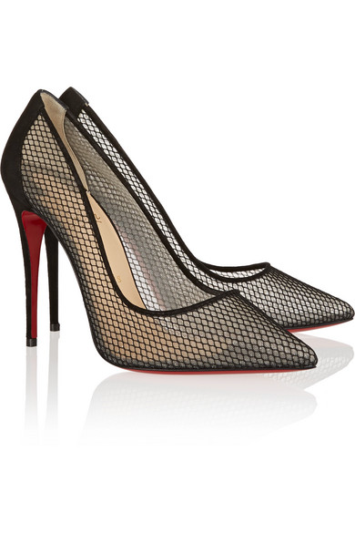 Christian Louboutin | Follies Resille 100 suede-trimmed mesh pumps ...