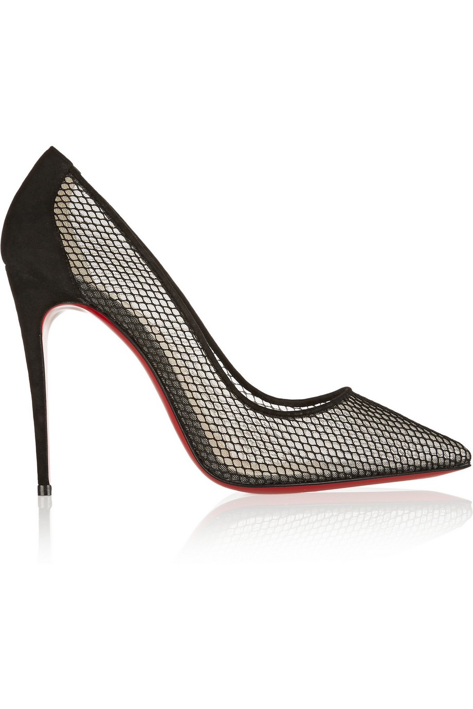 Christian Louboutin Follies Resille 100 Suede-Trimmed Mesh Pumps, Black, Women's US Size: 4, Size: 34.5