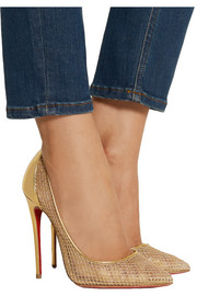 Christian Louboutin Follies Resille 120 metallic leather and fishnet pumps